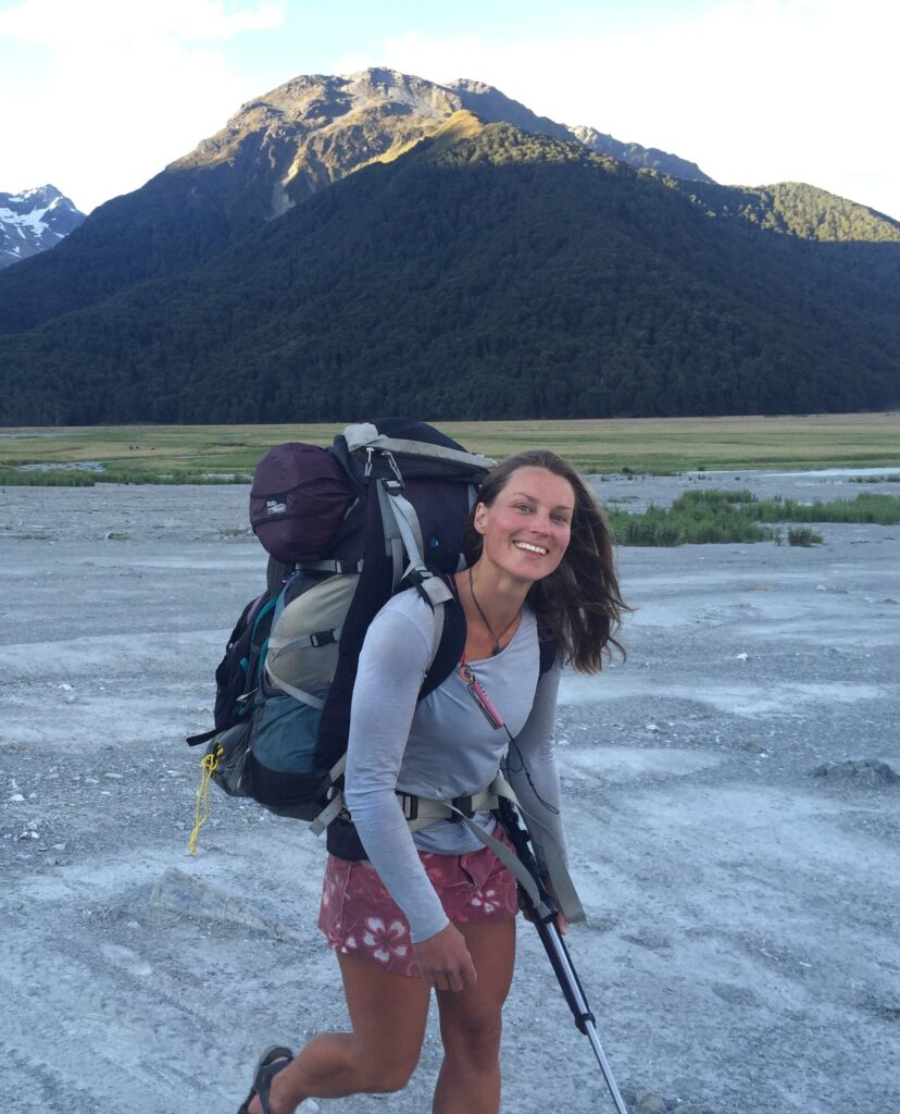 Miriam Lancewood standing in front of a mountain