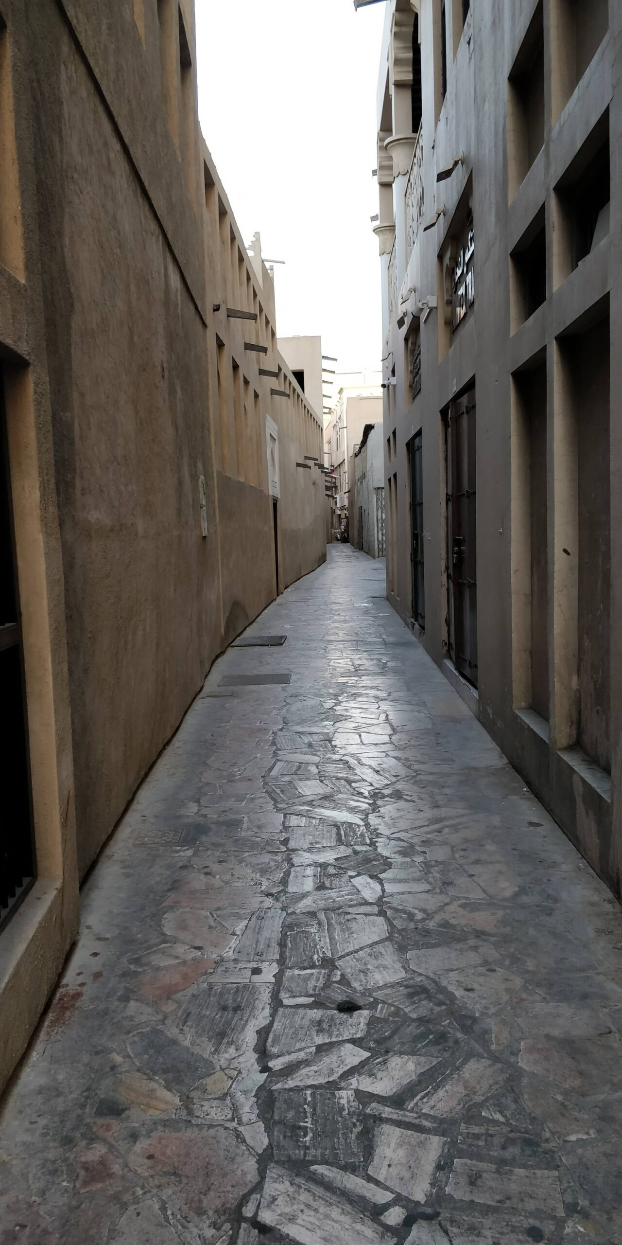 An Empty Alleyway in Deira near Old Heritage center and Bait Al Qadeem Restaurant